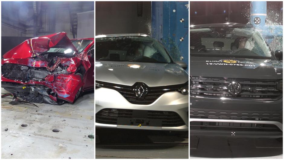Viel kaputt, trotzdem sehr sicher: Mazda3, Renault Clio und VW T-Cross.