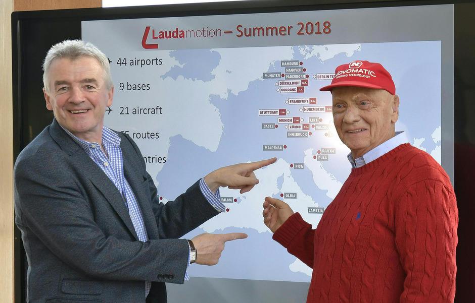 Ryanair-Chef Michael O'Leary und Airline-Gründer Niki Lauda.