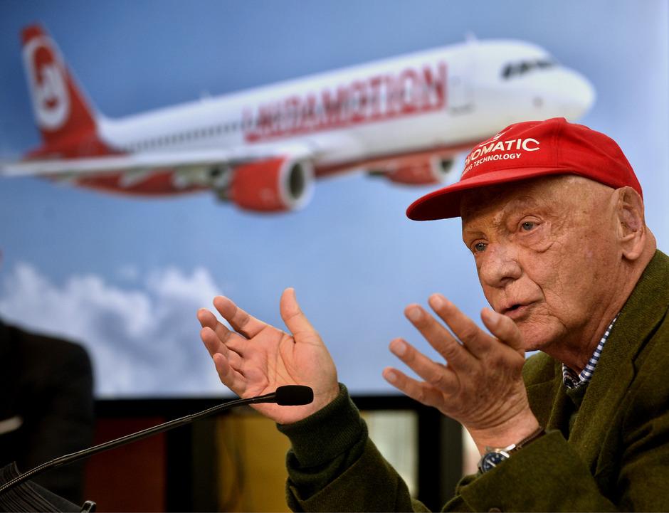 Niki Lauda während der Pressekonferenz zu Laudamotion am 16. März 2018.