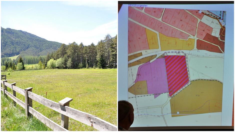 Die Umwidmung dieses Grundstücks in eine standortgebundene Sonderfläche (rot-lila-gestreift) wurde auf die nächste Sitzung vertagt.