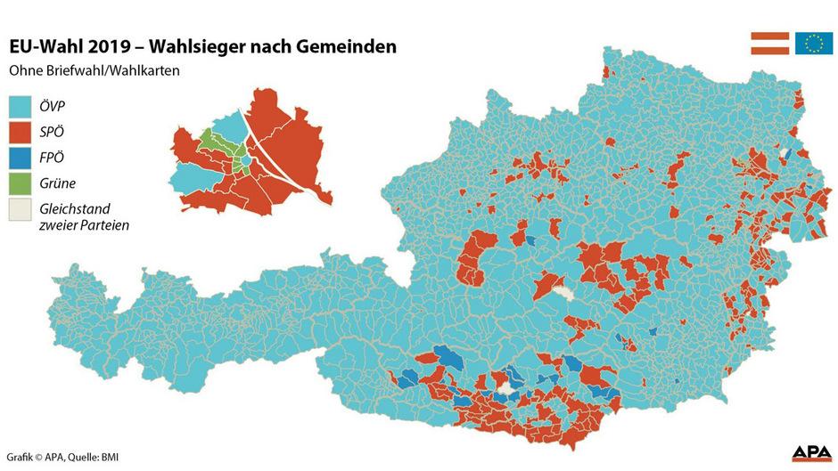 Wahlsieger nach Gemeinden.