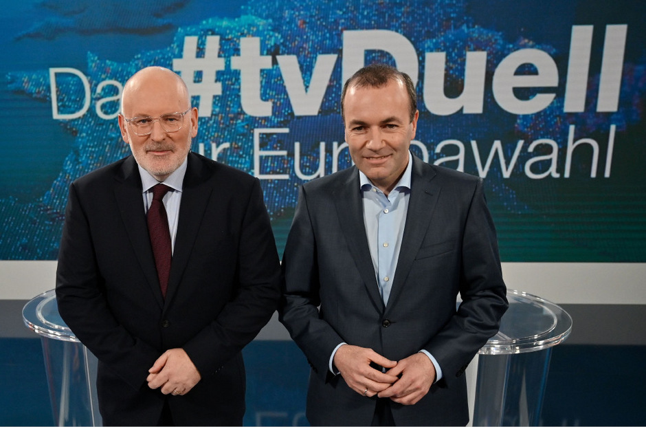 Christdemokrat Manfred Weber und Sozialdemokrat Frans Timmermans (l.).