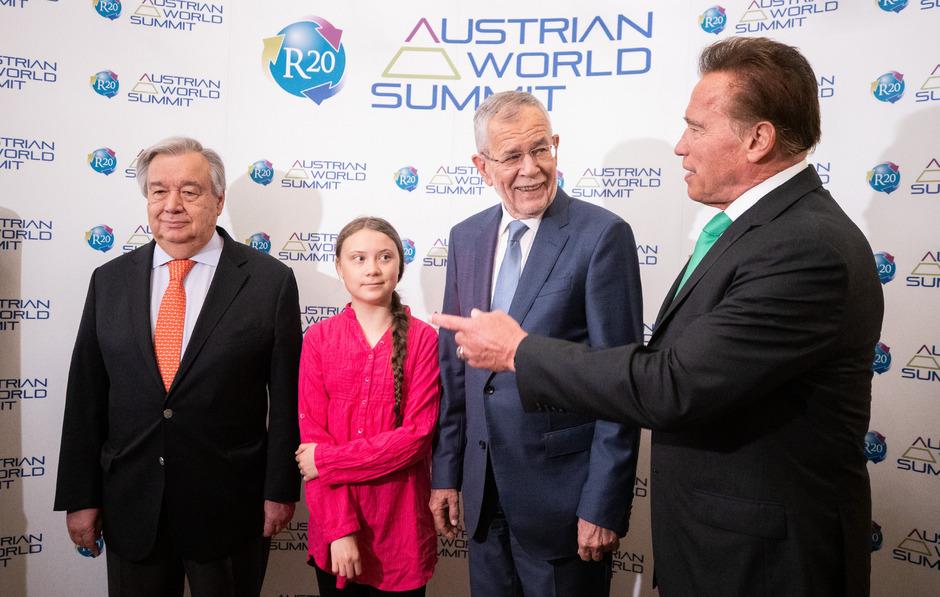 UNO-Generalsekretär Antonio Guterres, die 16-jährige schwedische Klimaaktivistin Greta Thunberg, Bundespräsident Alexander Van der Bellen und Arnold Schwarzenegger.