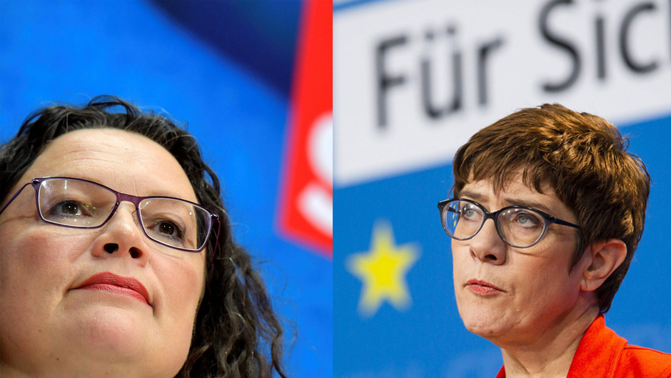 SPD-Vorsitzende Andrea Nahles und CDU-Chefin Annegret Kramp-Karrenbauer sind nach den großen Stimmenverlusten bei der EU-Wahl unter Druck.