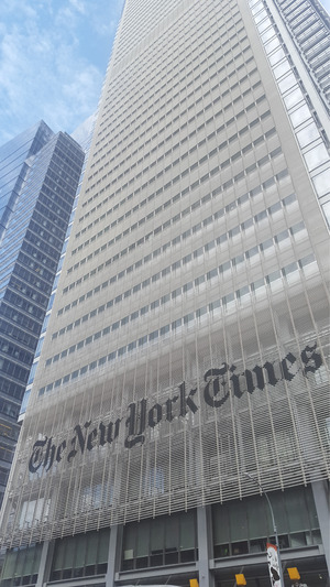 Wolkenkratzer der New York Times in der 8th Avenue.