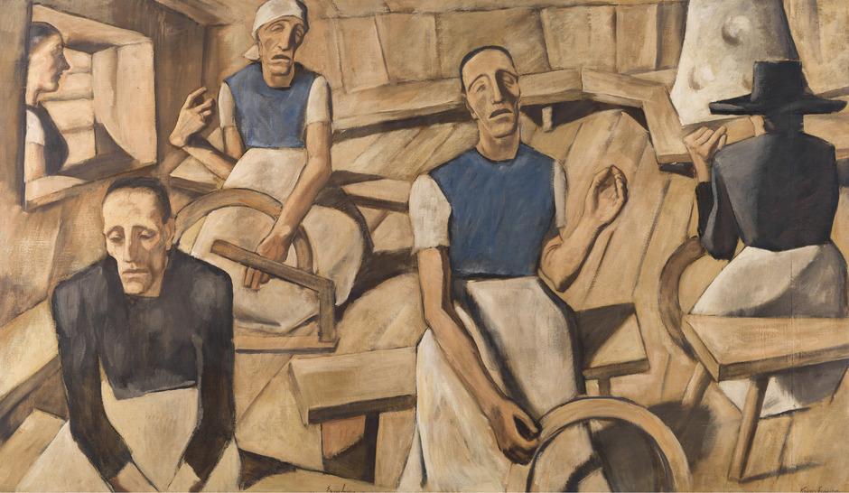 Albin Egger-Lienz, Kriegsfrauen, 1918 - 1922, 142 x 247 cm, Öl über Tempera auf Leinwand, Museum der Stadt Lienz - Schloss Bruck