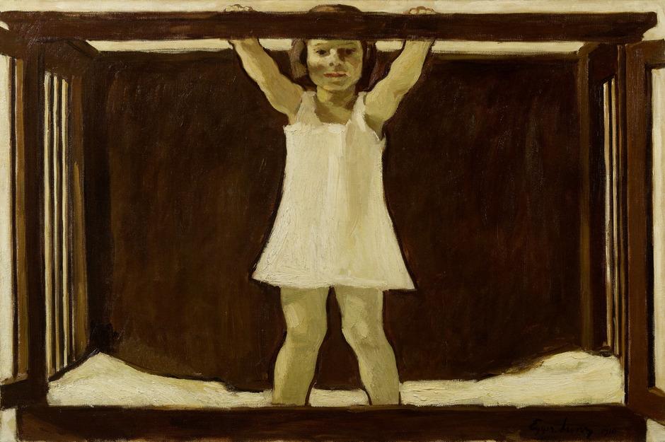 Albin Egger-Lienz, Die Tochter des Künstlers Ila im Kinderbettchen, 1916, 86,5 x 133 cm, Öl auf Leinwand, Leopold Privatsammlung.