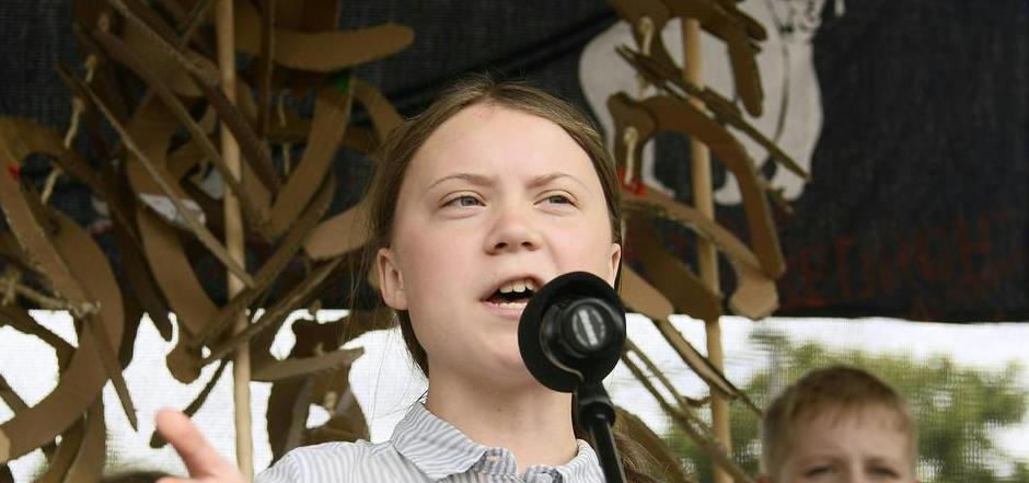 Greta Thunberg hielt zum Abschluss eine Rede auf dem Wiener Schwarzenbergplatz.
