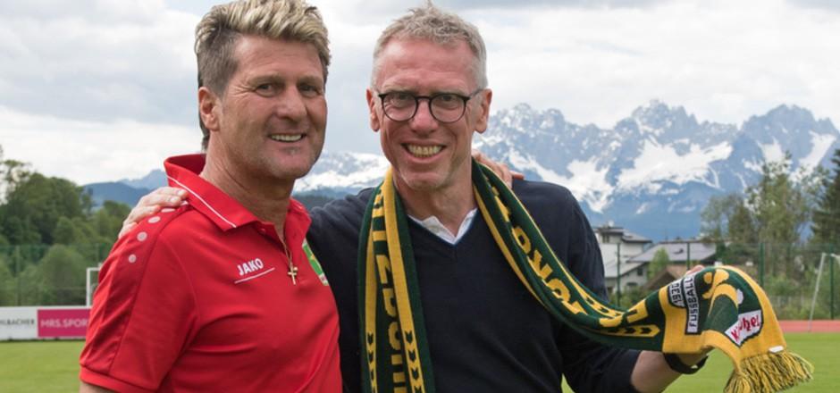 Hoher Besuch: Peter Stöger beehrte Kitzbühels Alex Markl (l.) bei dessen letztem Heimauftritt nach elf Jahren als Trainer.