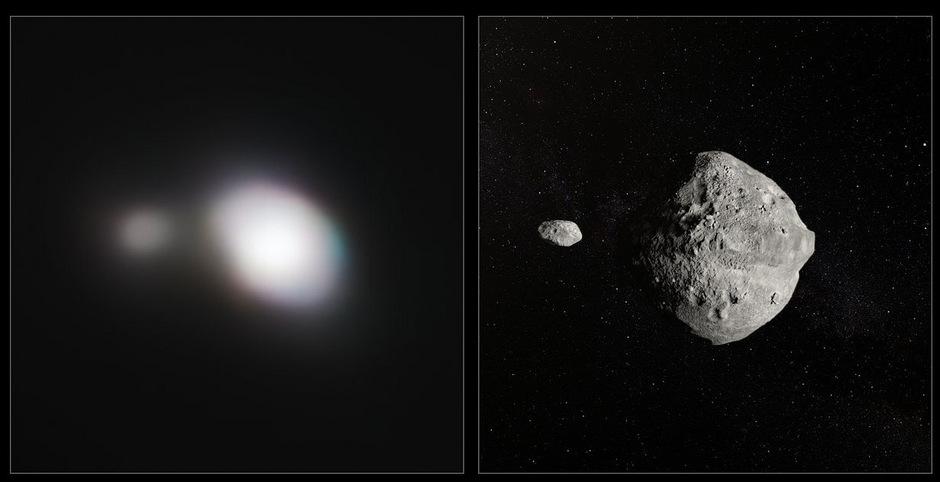 Vergleich der SPHERE-Beobachtungen des Asteroiden 1999 KW4 mit einer künstlerischen Darstellung.