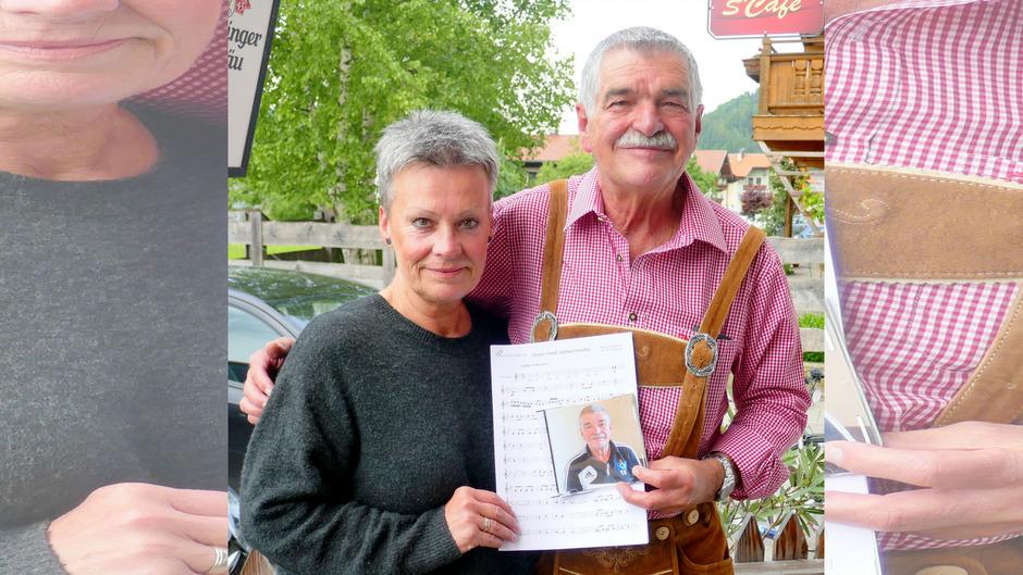 """""""Tiroler Friedl"""" Schuler und seine Frau Renate freuten sich über die eigens für den bekannten Fußballfan komponierte Polka."""