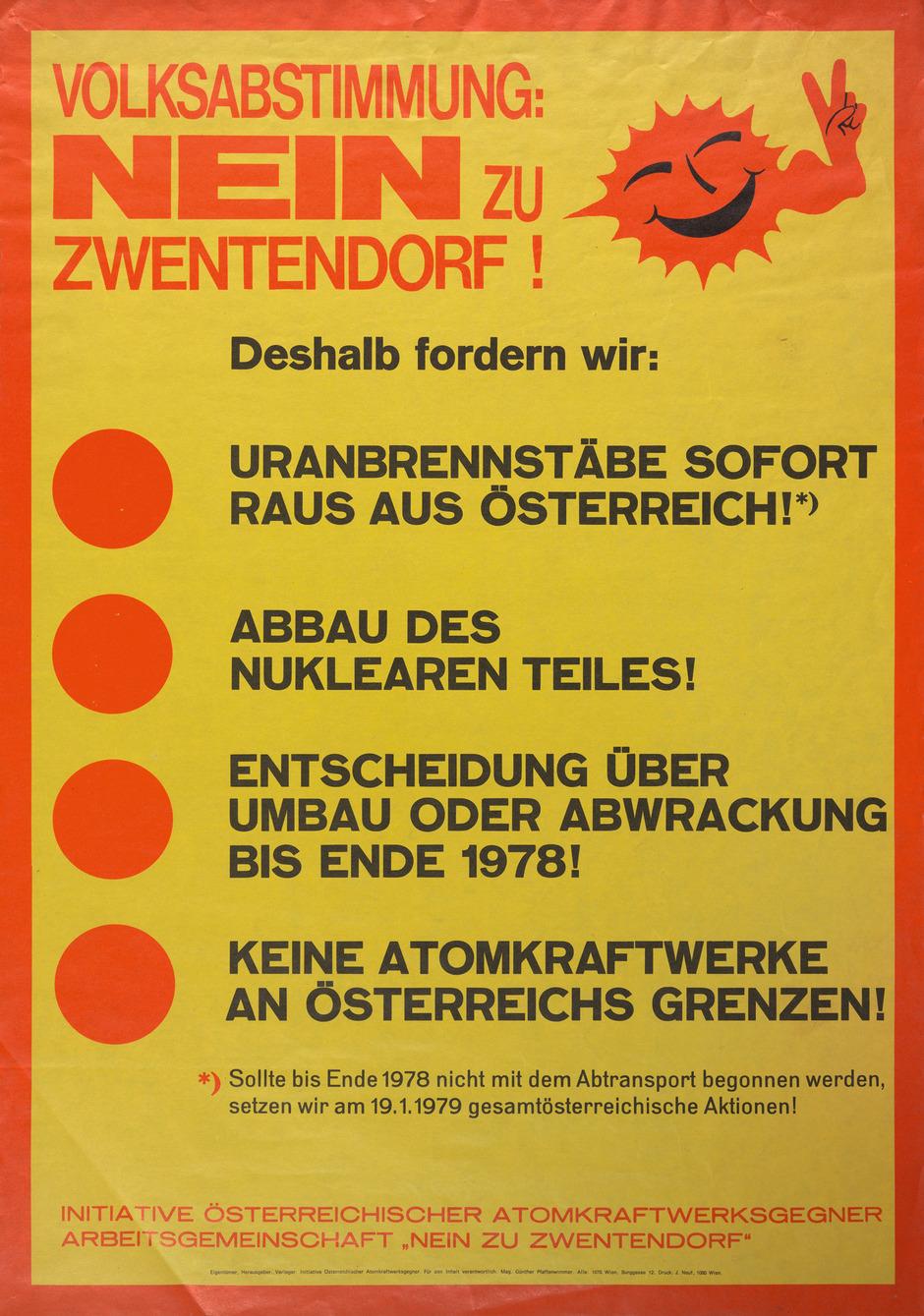 Grafisch banales Anti-Zwentendorf-Plakat aus den 1970er-Jahren.