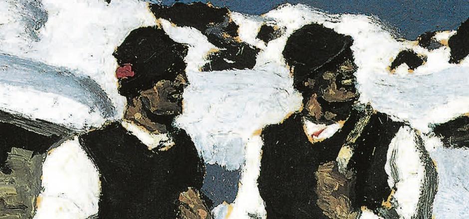 """Alfons Walde (1891–1958) ist nicht nur der am höchsten bezahlte, sondern auch nach wie vor der mit großem Abstand am meisten gefälschte Tiroler Maler. Im Bild der von ihm 1927 gemalte """"Bauernsonntag"""", unten dessen sehr plumpe Fälschung."""