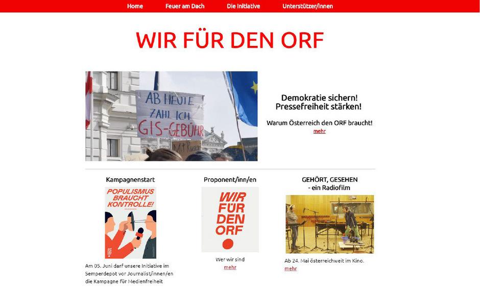 """Die Plattform """"Wir für den ORF"""" startet eine Kampagne für Medienfreiheit."""