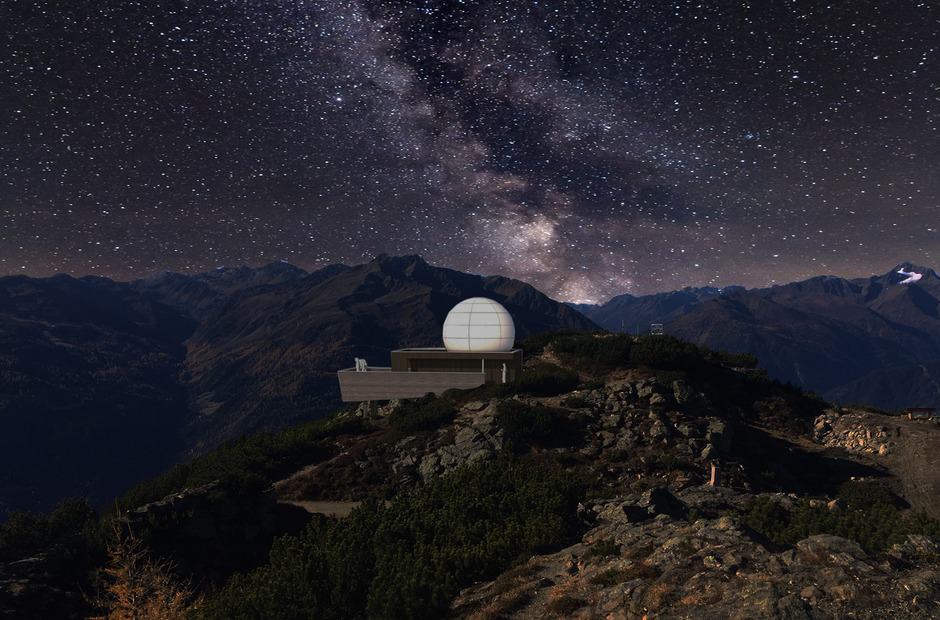 Noch gibt es nur eine Visualisierung, bis Ende Juli soll die neue Sternwarte am Venet stehen.