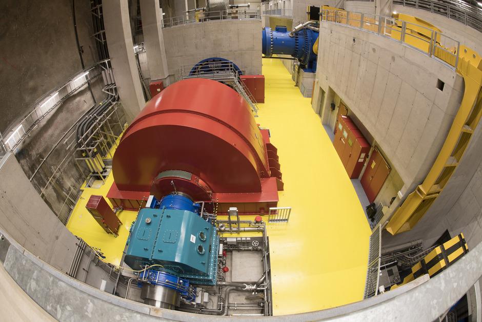 Blick auf die unterirdischen Maschinenanlagen des Pumpspeicherkraftwerks Obervermunt II im Montafon. Zur Stromproduktion wird der Höhenunterschied von 311 Metern zwischen zwei Stauseen genutzt.