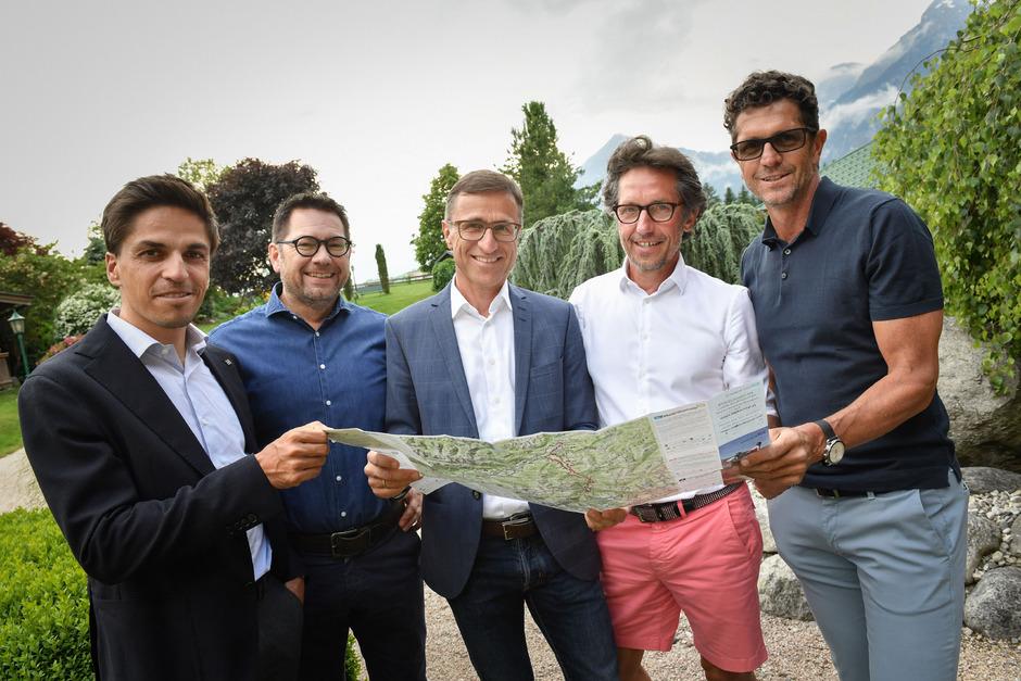 Thomas Rohregger (Ex-Radprofi), Markus Kofler (GF TVB Alpbachtal), Josef Margreiter (Tirol Holding), Karsten Migels (Radsport-Moderator) und Andreas Klingler (Rad-WM-Geschäftsführer 2018) diskutierten.