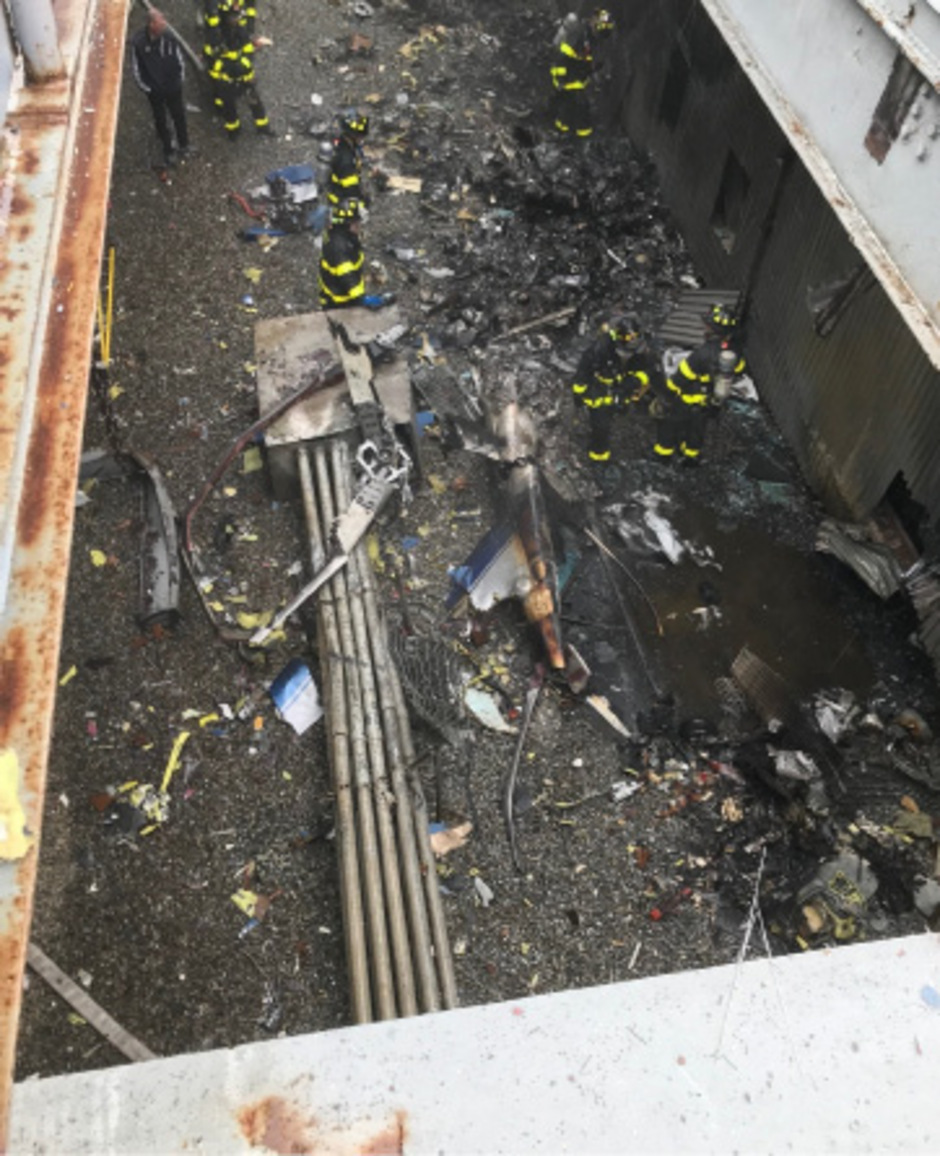Der abgestürzte Hubschrauber.