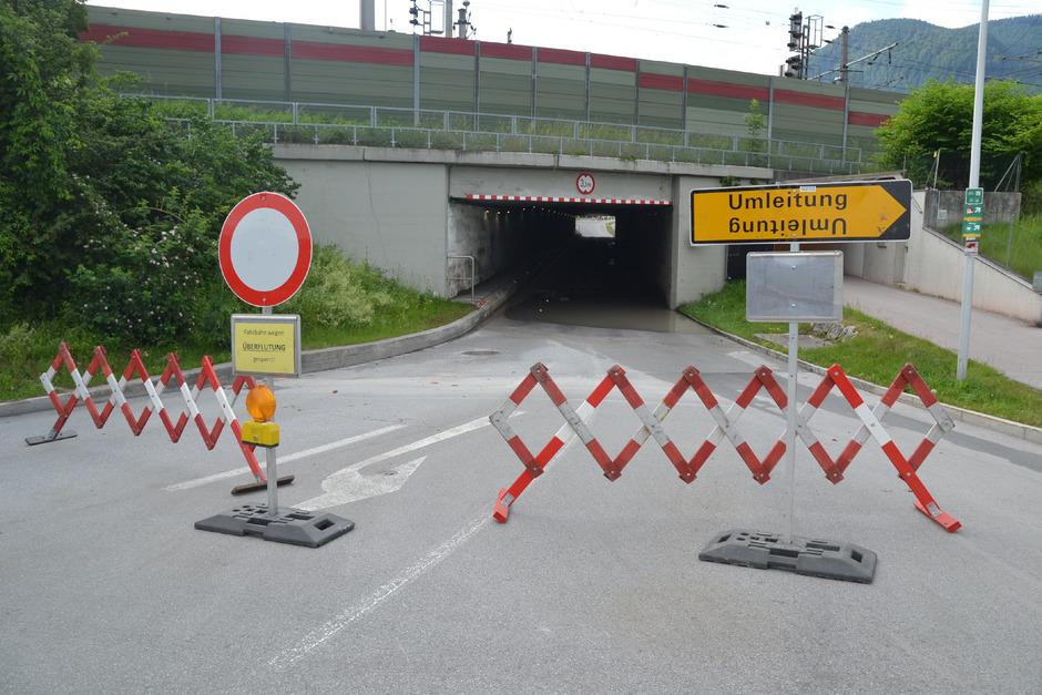Am Mittwoch kam die Stadt Wörgl mit einer nassen Unterführung davon. Bei vielen Leuten wurden Erinnerungen an 2005 wach.