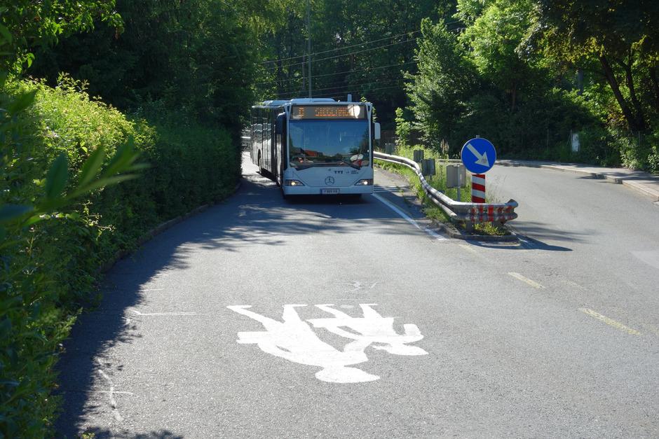 """rund um die Bushaltestelle """"Peterbrünnlweg"""" sehen Anrainer viel Gefahrenpotenzial."""