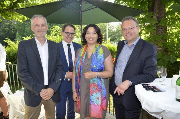 Die Tiroler Abgeordneten zum Nationalrat: Max Unterrainer (l.), Selma Yildirim, Gerald Hauser (r.), Jakob Grüner (LH-Koordinationsstelle Wien).