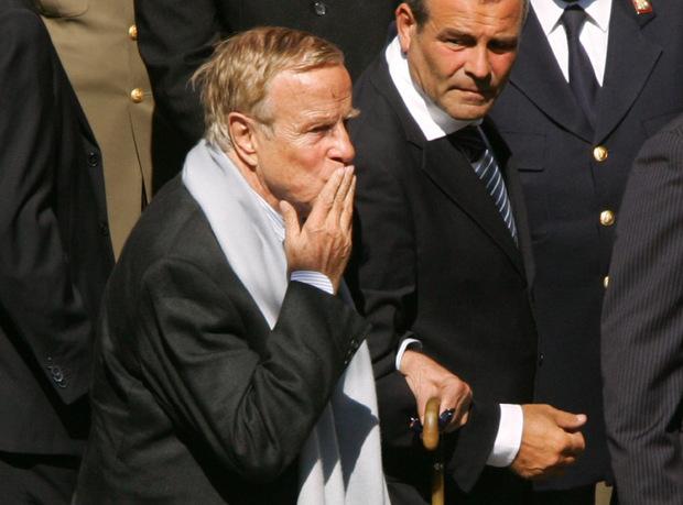 Franco Zeffirelli beim Begräbnis von Luciano Pavarotti 2007.