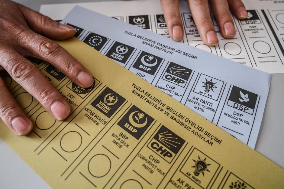 Wahlzettel der Kommunalwahl in Istanbul.