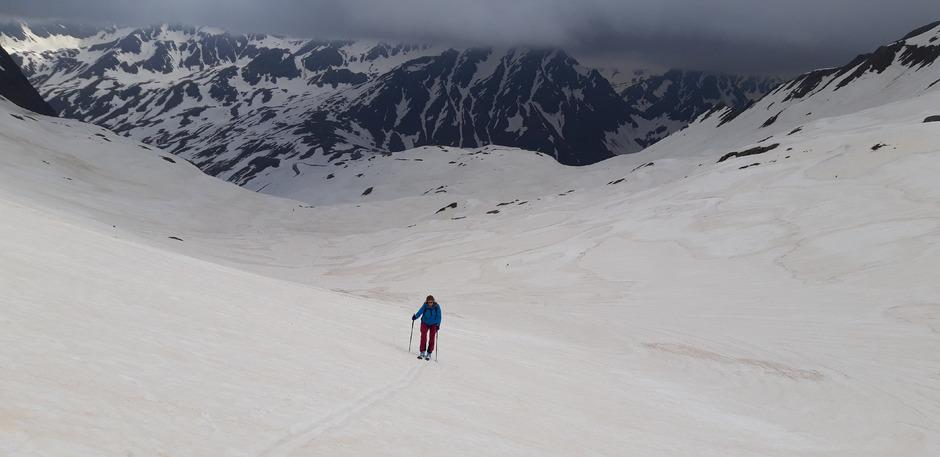 Juni 2019: In den Ötztaler Alpen - hier bei der Tour auf die Äußere Schwenzerspitze - liegt immer noch viel Schnee.