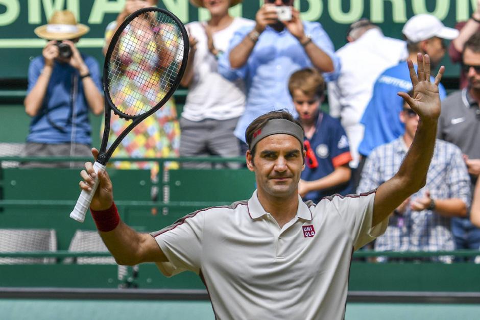 Bekanntes Bild: Federer jubelt in Halle.