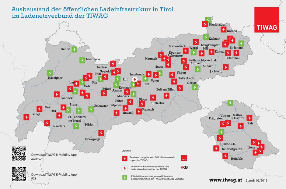 Mit über 70 Standorten von Ischgl bis Lienz betreibt die TIWAG das größte Ladenetz Tirols.