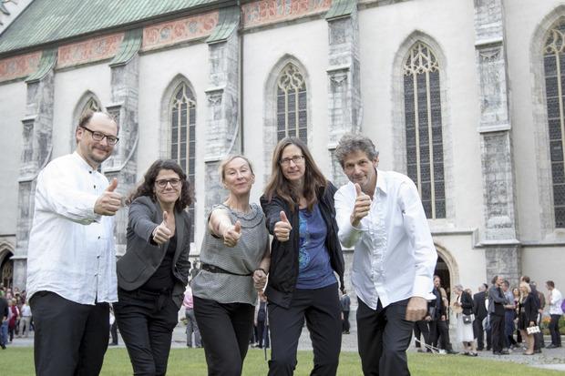 Daniel Oliver Moser, Angelika Schopper, Cathy Milliken, Kathrin Röggla und Klaus Niederstätter (v.l.) hatten die kreative Leitung.