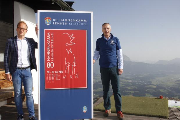 Peter Kofler (l.), BTV und Michael Huber, KSC-Präsident und OK-Chef Hahnenkammrennen, präsentierten das neue Plakat.