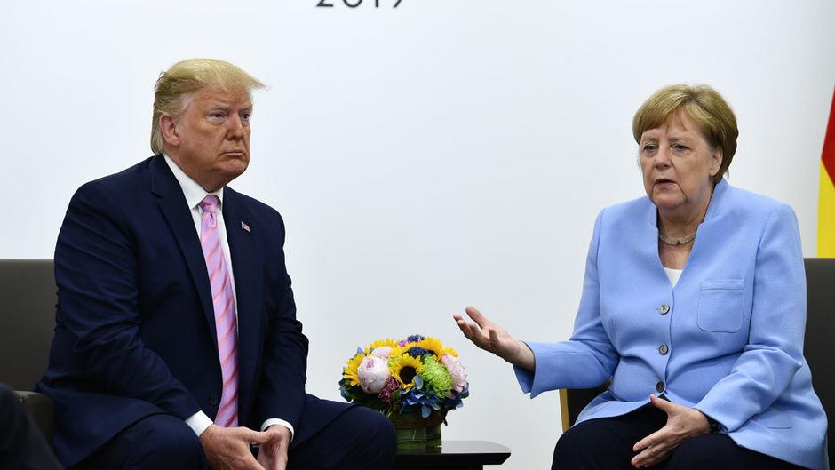 US-Präsident Donald Trump mit der deutschen Bundeskanzlerin Angela Merkel.