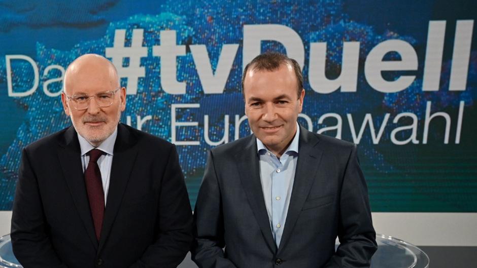 Frans Timmermans (l.) ist weiter Favorit für den Posten des EU-Kommissionspräsidenten. Manfred Weber (EVP) könnte wieder EU-Parlamentspräsident werden.