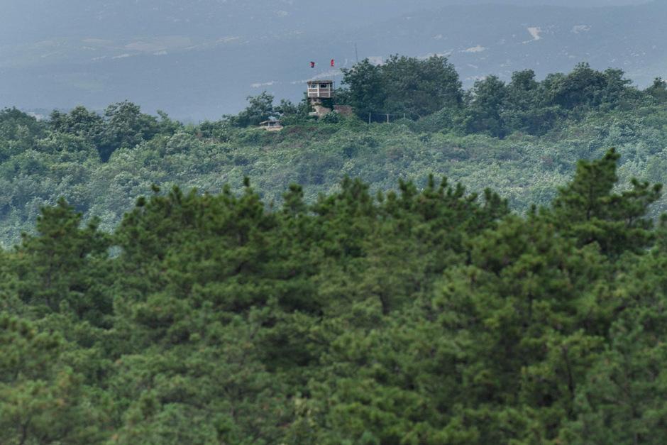 Ein nordkoreanischer Beobachtungsposten nahe der Grenze.