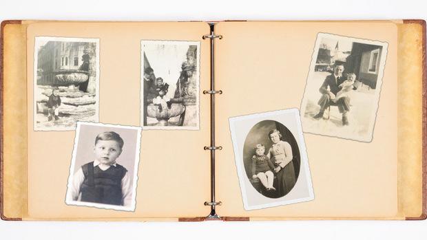Bilder einer Kindheit: Mark Burin mit seiner Mutter in der Sonnenburgstraße in Wilten (l.), mit seinem Papa (r. oben), kurz vor der Fahrt nach Großbrtitannien (l. unten) und mit seiner Pflegemutter (r. unten).