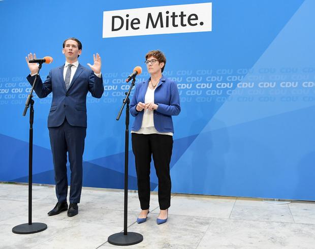 Sebastian Kurz trat gemeinsam mit CDU-Chefin Annegret Kramp-Karrenbauer vor die Presse.