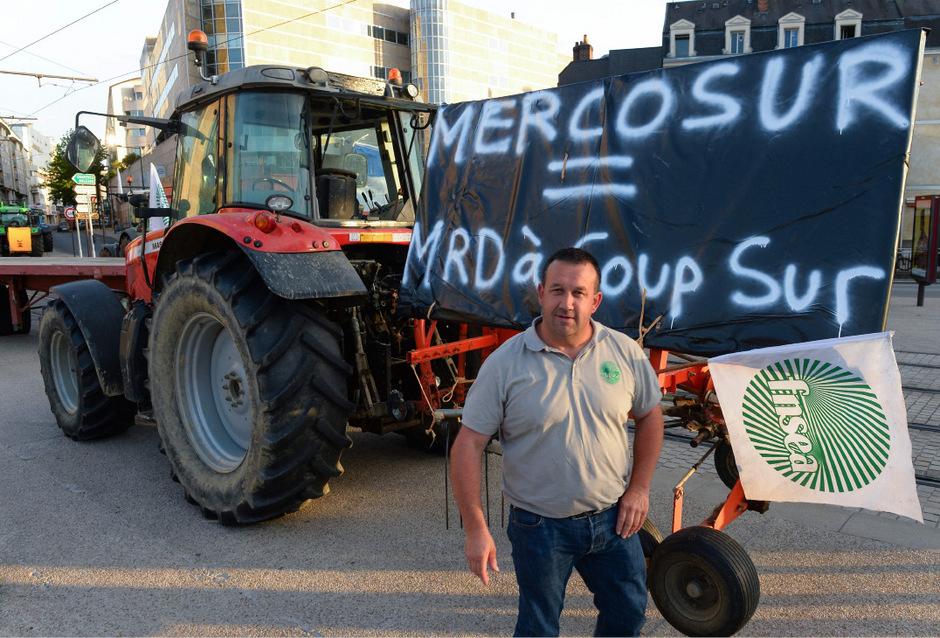 Protest gegen das Außenhandels-Abkommen Mercosur.
