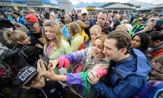 Die Wanderung auf die Rosshütte in Seefeld war für Sebastian Kurz wie eine Selfie-Tour.