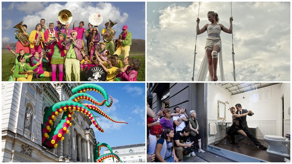 """Bei Olala 2019 zu sehen: die """"Fanfare der ersten Liebesnacht"""", Flugakrobatin """"Sisus Sirkus"""", der Oktopus von """"Designs in Air"""", der in der Liebburg sein Unwesen treiben wird, und das Tanzpaar von """"Toilet Tango""""."""