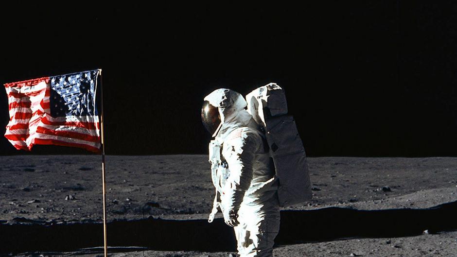 US-Astronaut Buzz Aldrin als zweiter Mann auf dem Mond.