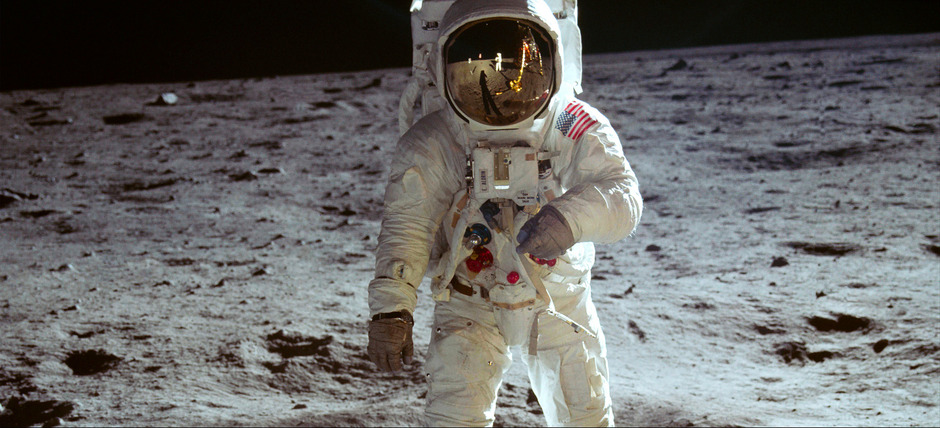 "Neil Armstrong, der erste Mann auf dem Mond, fotografierte am 20. Juli 1969 den zweiten Mann Edwin ""Buzz"" Aldrin."