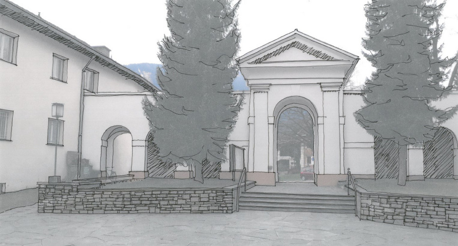 Nach den Plänen des Architekten Paul Senfter wird die Natursteinmauer nach Süden fortgeführt.
