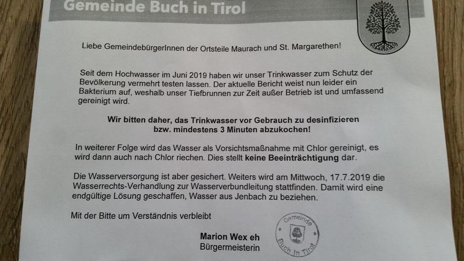 Die Bürger der Ortsteile Maurach und St. Margareten wurden vom Gemeindeamt aufgefordert, das Trinkwasser abzukochen.