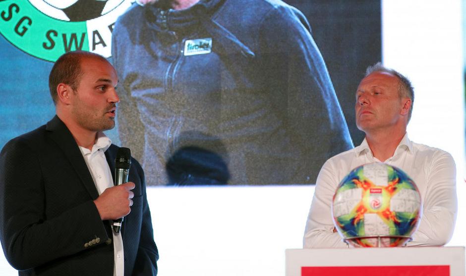 WSG-Kapitän Ferdl Oswald und Trainer Thomas Silberberger standen am Dienstagabend bei der Bundesliga-Eröffnungs-PK Rede und Antwort.