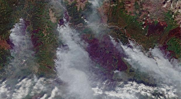 Rauchschwaden über Sacha im asiatischen Teil Russlands.