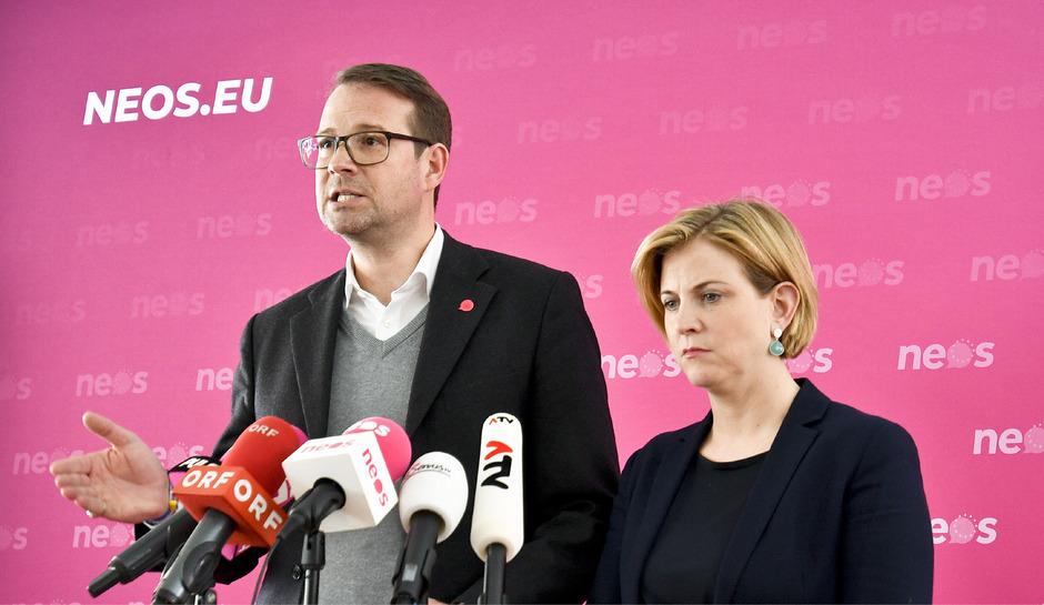 Generalsekretär Donig und Vorfrau Meinl-Reisinger hoffen, mit einem Polit-Neuling zu punkten.