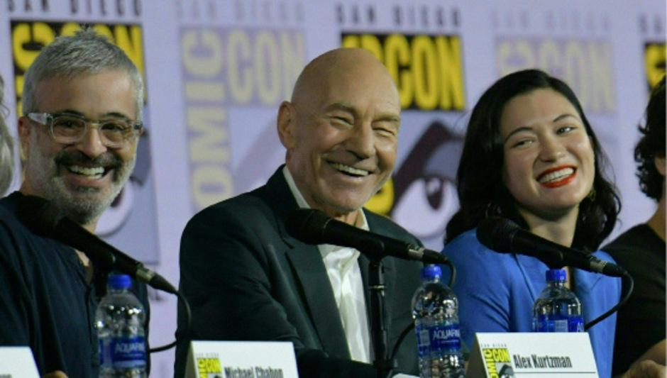 Alex Kurtzman, Patrick Stewart und Isa Briones bei der Comic Con in San Diego.