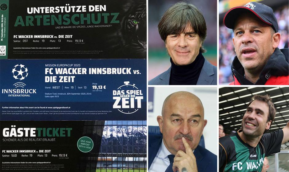 """Jogi Löw und Stani Tschertschessow lieferten die vom FC Wacker ins Leben gerufene Video-Challenge """"Spiel gegen die Zeit"""" schon ab, Iñaki Bea und Markus Anfang sollen demnächst folgen."""