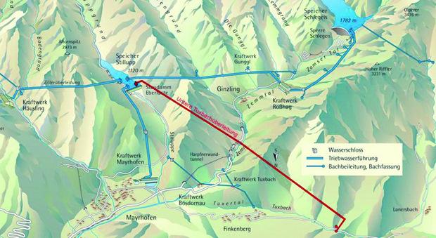 Rot markiert sieht man die in Bau befindliche Überleitung des Unteren Tuxbaches nach Ginzling und weiter zum Stilluppspeicher.